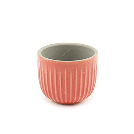 Mini Cachepô em Cerâmica Listras Rosa