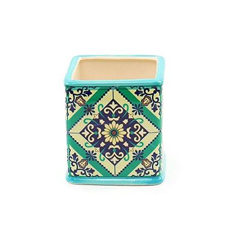 Cachepô em Cerâmica Quadrado Azulejo Português Verde