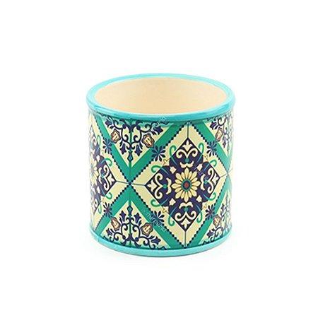 Cachepô em Cerâmica Redondo Azulejo Português Verde