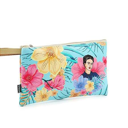 Carteira Flat Estampada Média Frida Kahlo Floral Azul