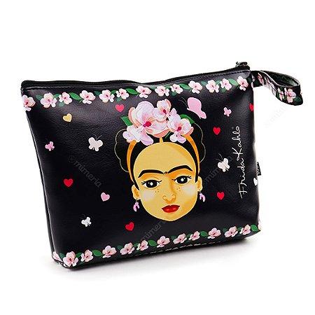 Necessaire de Viagem Grande Estampada Frida Kahlo Fridinha Preta