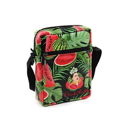 Bolsa Transversal Shoulder Bag Frida Kahlo Pitaia e Melancia Preta