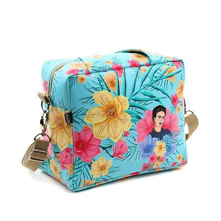 Bolsa Térmica Média Frida Kahlo Floral Azul