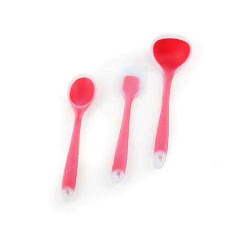 Kit de Utensílios de Silicone Circa 3 Peças com Concha Vermelho