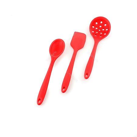 Kit de Utensílios de Silicone Colore 3 Peças com Escumadeira Vermelho