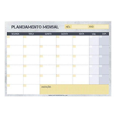 Bloco Planner de Mesa Mensal Pontilhado Cinza
