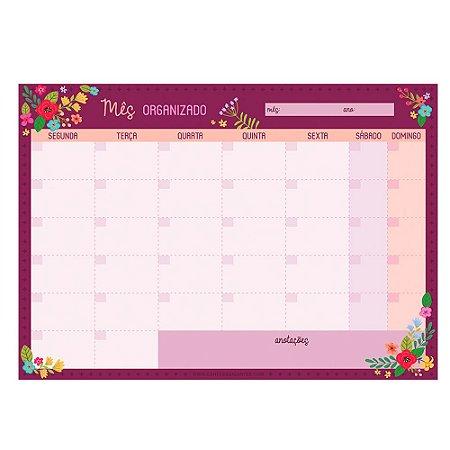 Bloco Planner de Mesa Mensal Floral Rosa Escuro