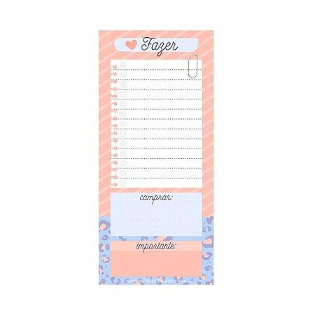Bloco de Notas Imã Afazeres Animal Print Rosa e Azul