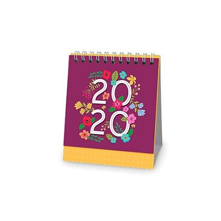 Calendario Rosa Png.Calendario De Mesa 2020 Floral Rosa Escuro Pequeno
