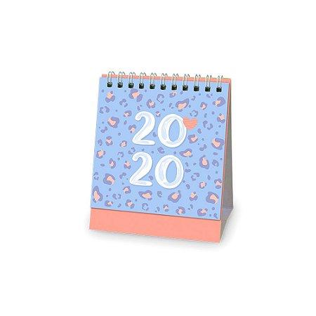 Calendário de Mesa 2020 Animal Print Azul e Rosa Pequeno