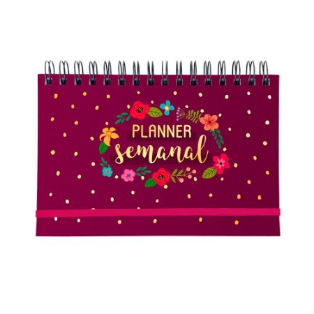 Planner Semanal Floral Rosa Escuro