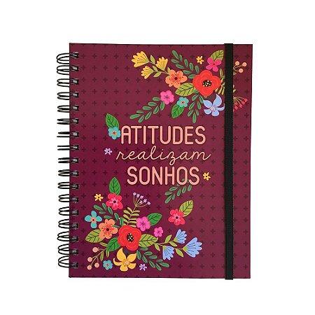 Planner Permanente Atitudes Realizam Sonhos Floral Rosa Escuro