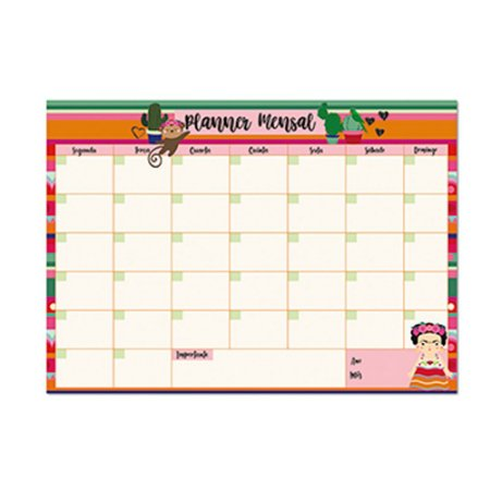Bloco Planner de Mesa Mensal Frida Colores