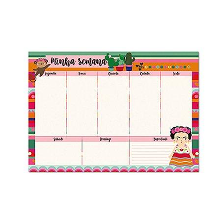 Bloco Planner de Mesa Semanal Frida Colores
