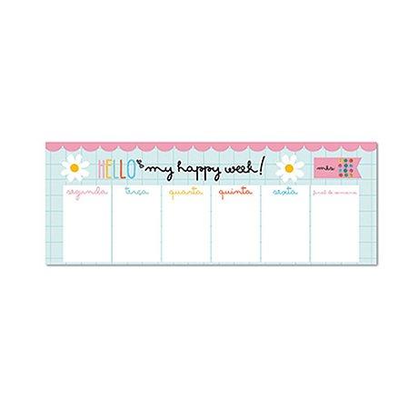Bloco Planner Semanal Teclado Happy Buquê