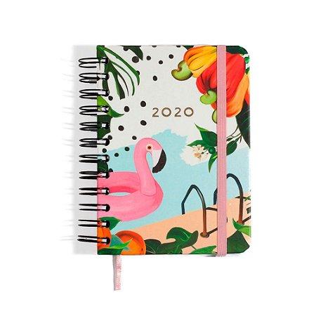 Agenda Planner Diária 2020 Verão Flamingo Wire-O