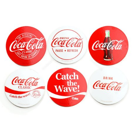 Conjunto 6 Porta Copos de Cortiça Coca-Cola Clássico Vermelho Redondo