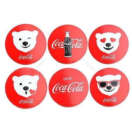 Conjunto 6 Porta Copos de Cortiça Coca-Cola Ursos Polares Vermelho Redondo