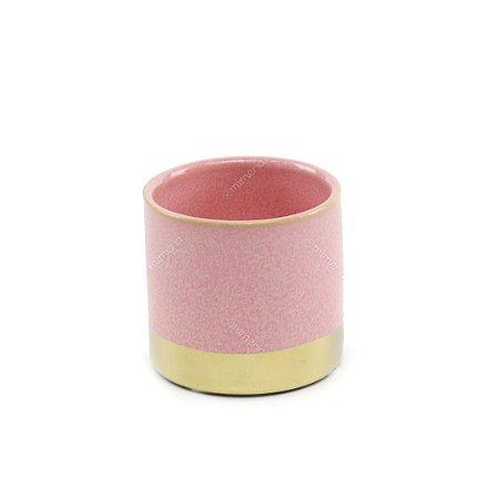 Cachepô em Cerâmica Metálico Rosa e Cobre
