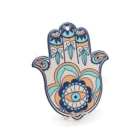 Descanso de Panela em Cerâmica para Mesa Mão de Fátima Hamsa Colorido