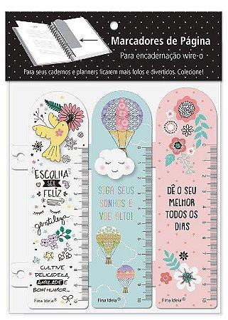 Marcador de Página Beija-Flor, Nuvem e Floral