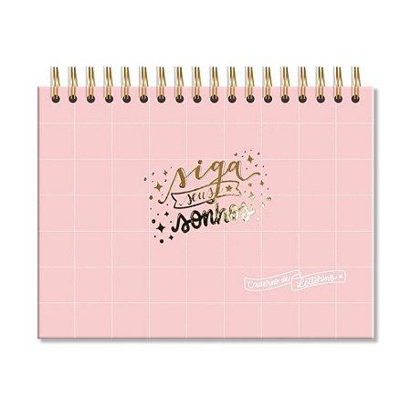 Caderno de Lettering Folhas Pretas Rosa Quadriculado