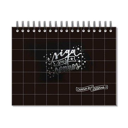 Caderno de Lettering Folhas Brancas Preto Quadriculado