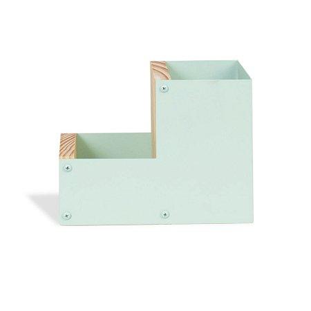 Porta-Lápis Duplo em Aço Verde