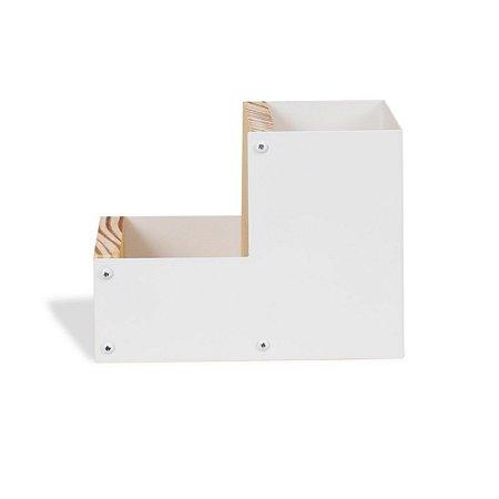 Porta-Lápis Duplo em Aço Branco