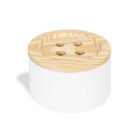 Lata Redonda em Aço Botão Branco