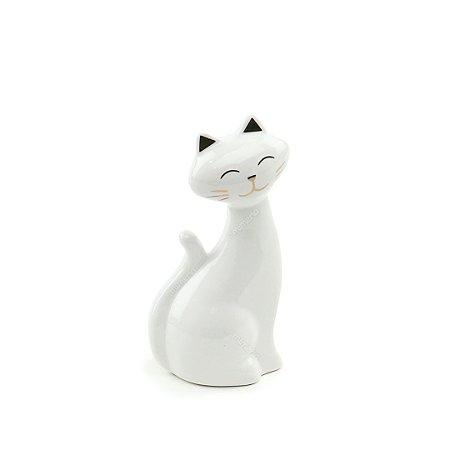 Gato em Cerâmica Branco e Dourado Pequeno