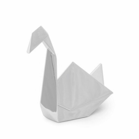Porta Anel Origami Cisne Cromado Prata
