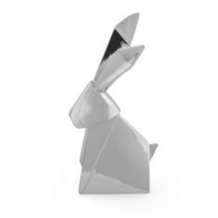 Porta Anel Origami Coelho Cromado Prata