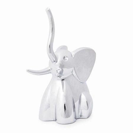 Porta Anel Zoola Elefante Cromado Prata