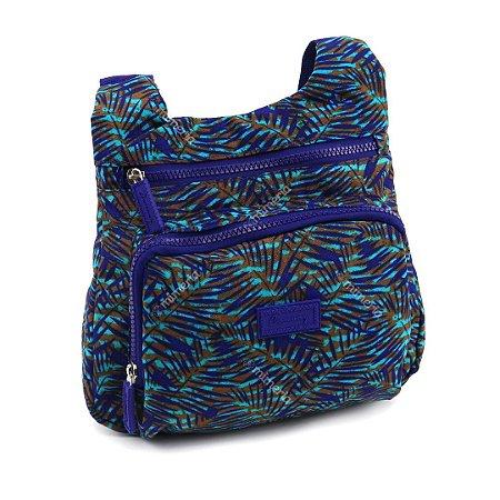 Bolsa Tranversal Estampada Nylon Mesclada Azul