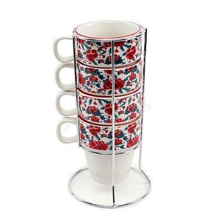 Kit Xícaras de Capuccino em Porcelana Frida Kahlo Flores Branco