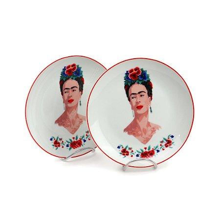Jogo de Sobremesa 2 Pratos de Porcelana Frida Kahlo Flores Branco