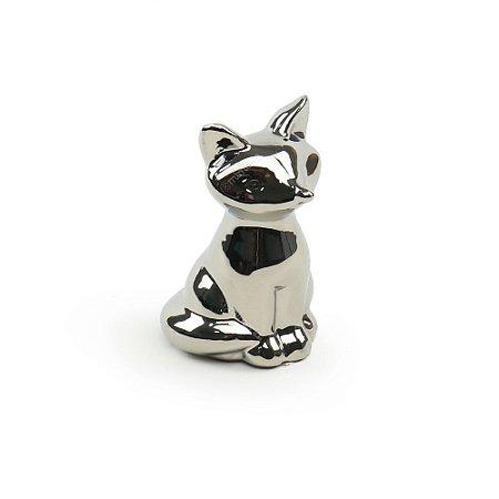 Raposa Decorativa em Cerâmica Prata