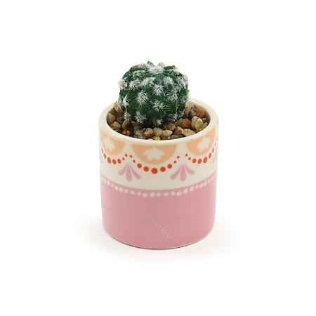 Cachepô de Cerâmica com Planta Artificial Arabesco