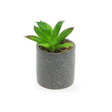 Cachepô de Cerâmica com Planta Artificial Cinza