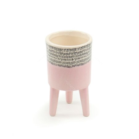 Vaso de Cerâmica com Pé Cores Brilhantes Rosa Pequeno
