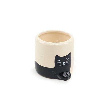 Mini Vaso de Cerâmica Gatinho Preto