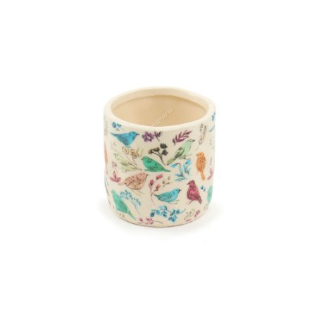 Vaso de Cerâmica Pássaros e Flores Branco