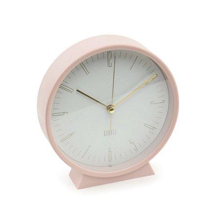 Relógio de Mesa Clássico Clean Style Rosa e Branco