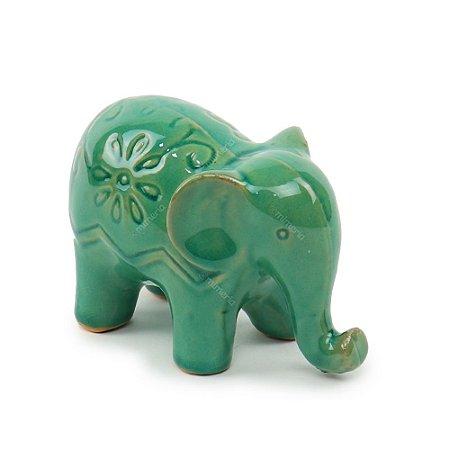 Elefante Decorativo em Cerâmica com Flores Verde