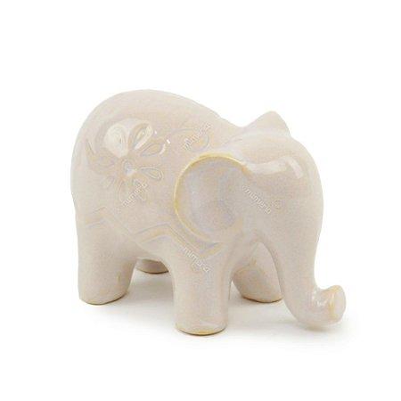 Elefante Decorativo em Cerâmica com Flores Branco