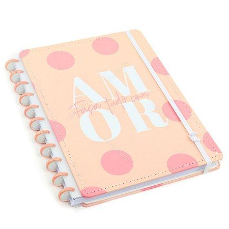 Caderno Inteligente Faça Tudo Com Amor Grande Rosa