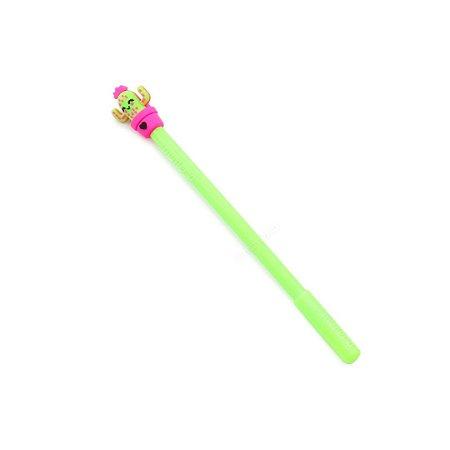 Caneta Gel Fun Cactus Verde Claro com Vasinho Rosa