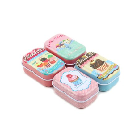 Kit 4 Latinhas Retangulares Pequenas Cupcakes