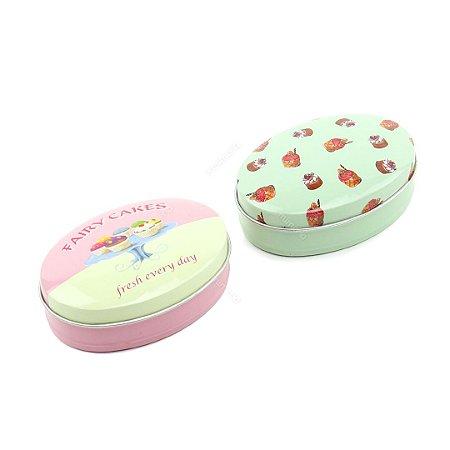 Kit 2 Latinhas Ovais Grandes Mini Cupcakes e Tortas